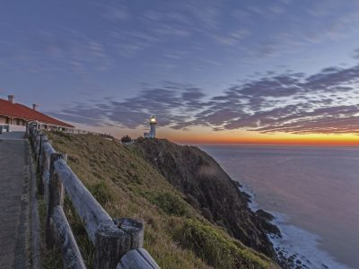 Cape Byron lighthouse and cottages at sunrise