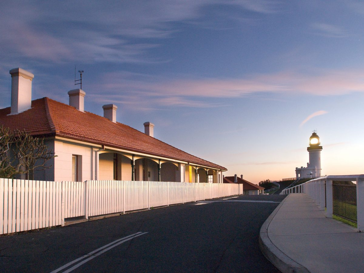 Cottages and Cape Byron lighthouse