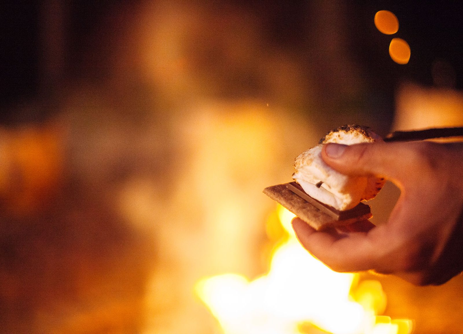 S'mores over a roaring campfire