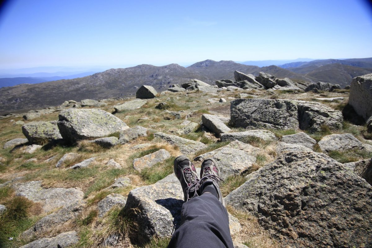 View from Mt Kosciuszko summit to other mountains