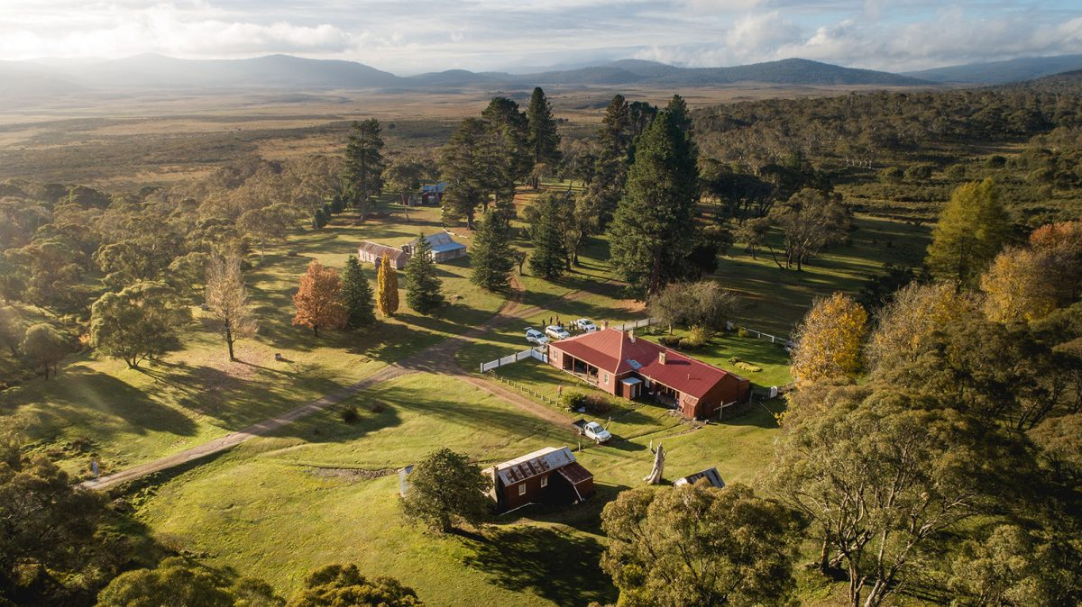 Currango Homestead from above, in Kosciuszko National Park