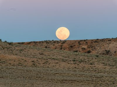 Moon over ridge on Jump-Up Loop Road drive, Sturt National Park. Photo: John Spencer/OEH