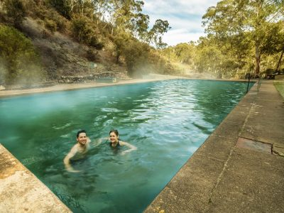 Couple in thermal pool at Yarrongobilly