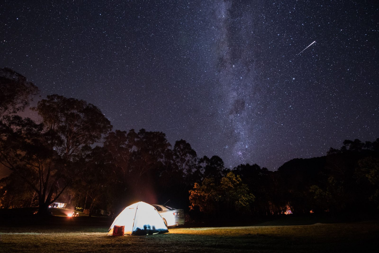 Campground at night under the stars in a NSW national park