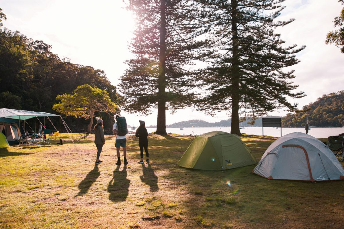 Group of campers and tents at The Basin campground in Ku-ring-gai Chase National Park
