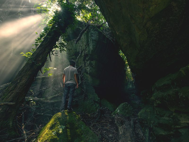 A man standing on a rock in front of a moss-covered wall