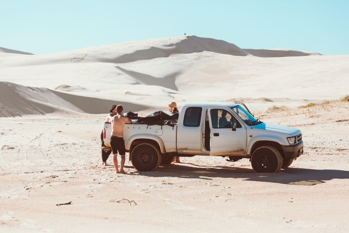 Ute parked on the Stocked sand dunes, Worimi National Park. Photo: Tim Clark