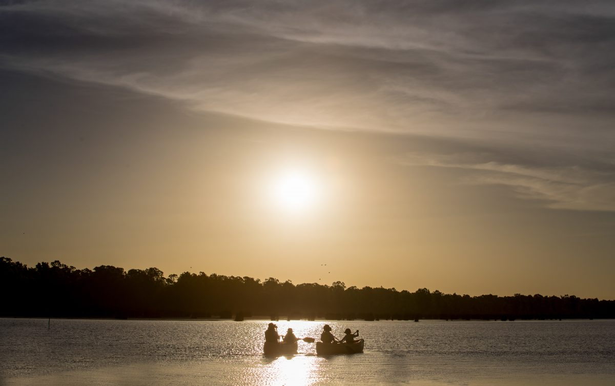 Family in canoes in Barmah Lake, Victoria