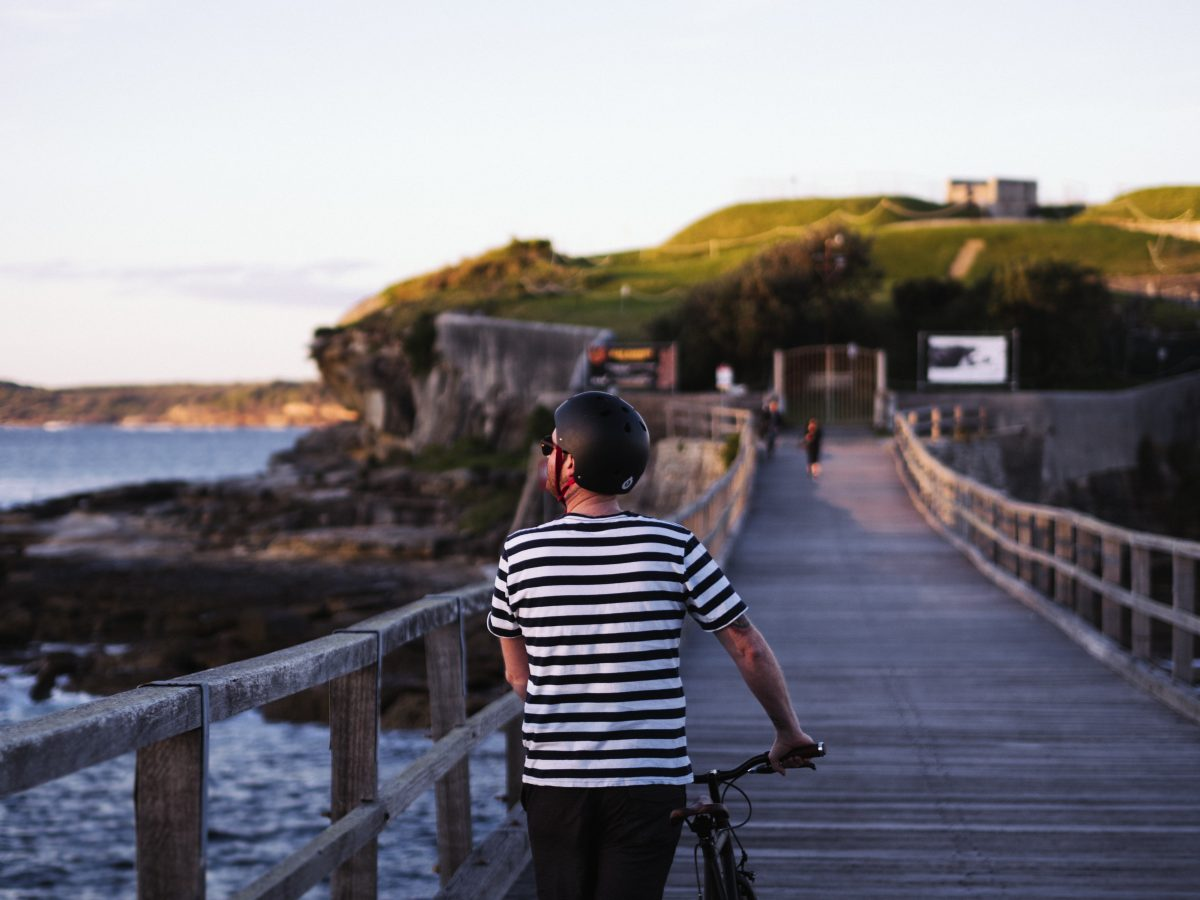 La Perouse Man with bicycle