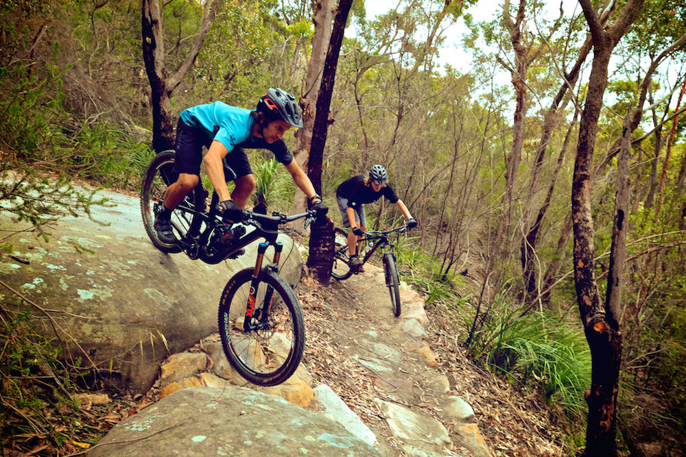 Mountain bikers on rocks