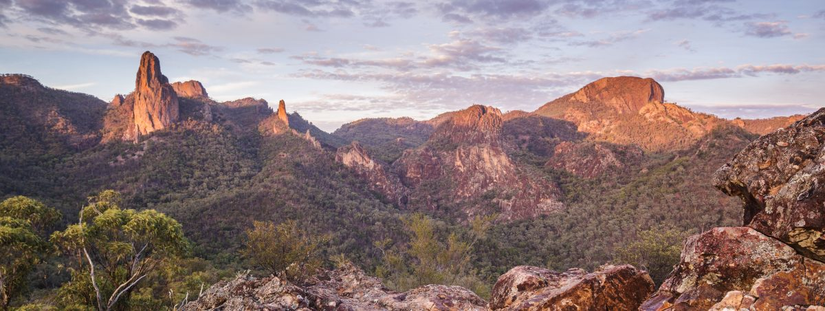 View of the Breadknife and Grand High Tops at sunset, Warrumbungle National Park