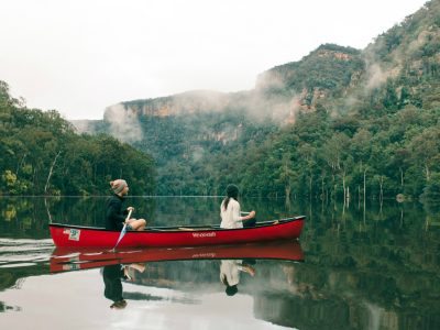 A couple canoeing