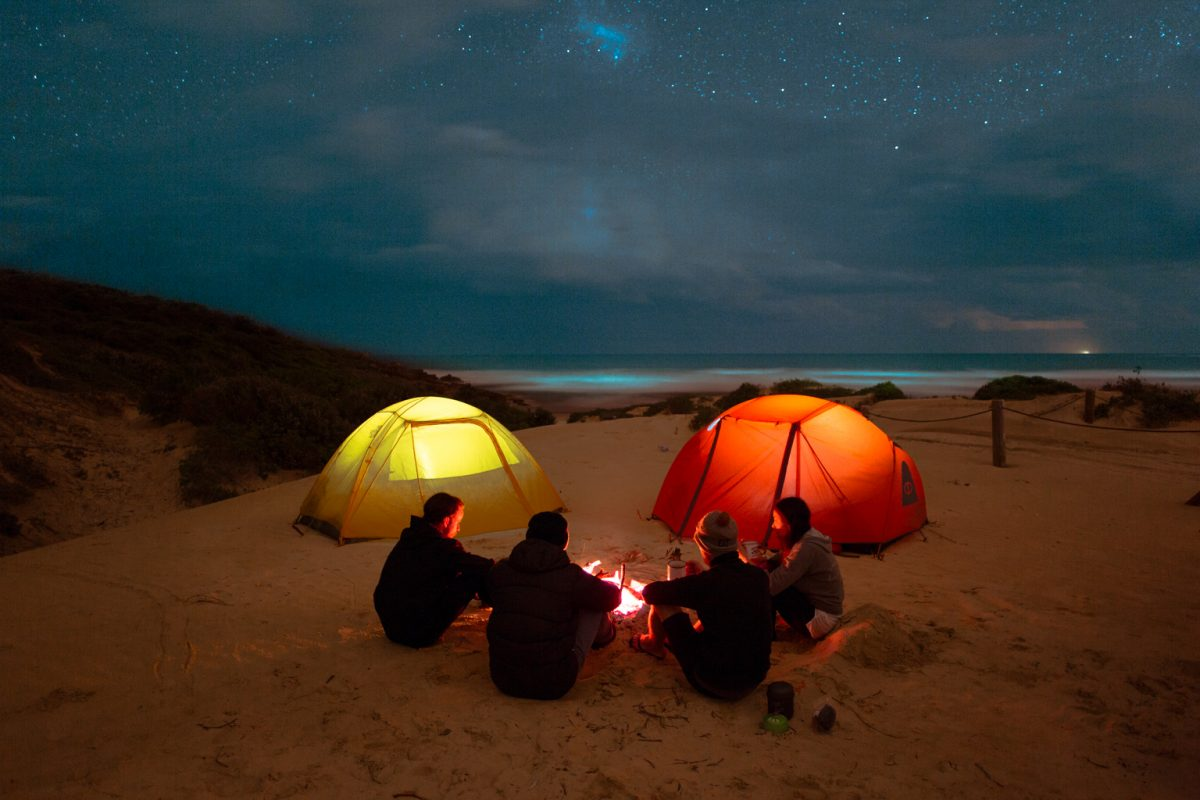 Tents and camping on the beach under the stars