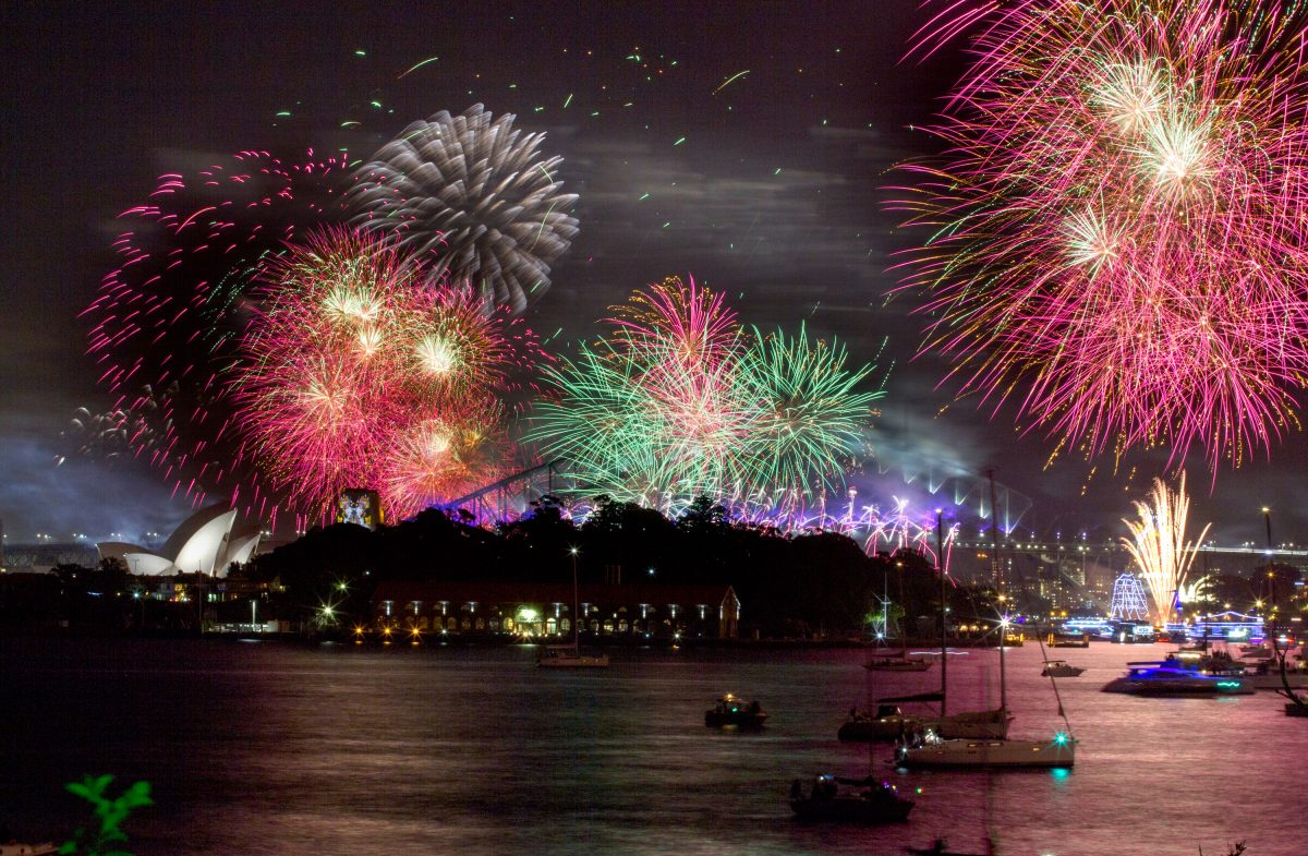 Sydney Harbour New Year's Eve fireworks seen from Clark Island, Sydney Harbour National Park. Photo: Edwina Pickles/DPIE