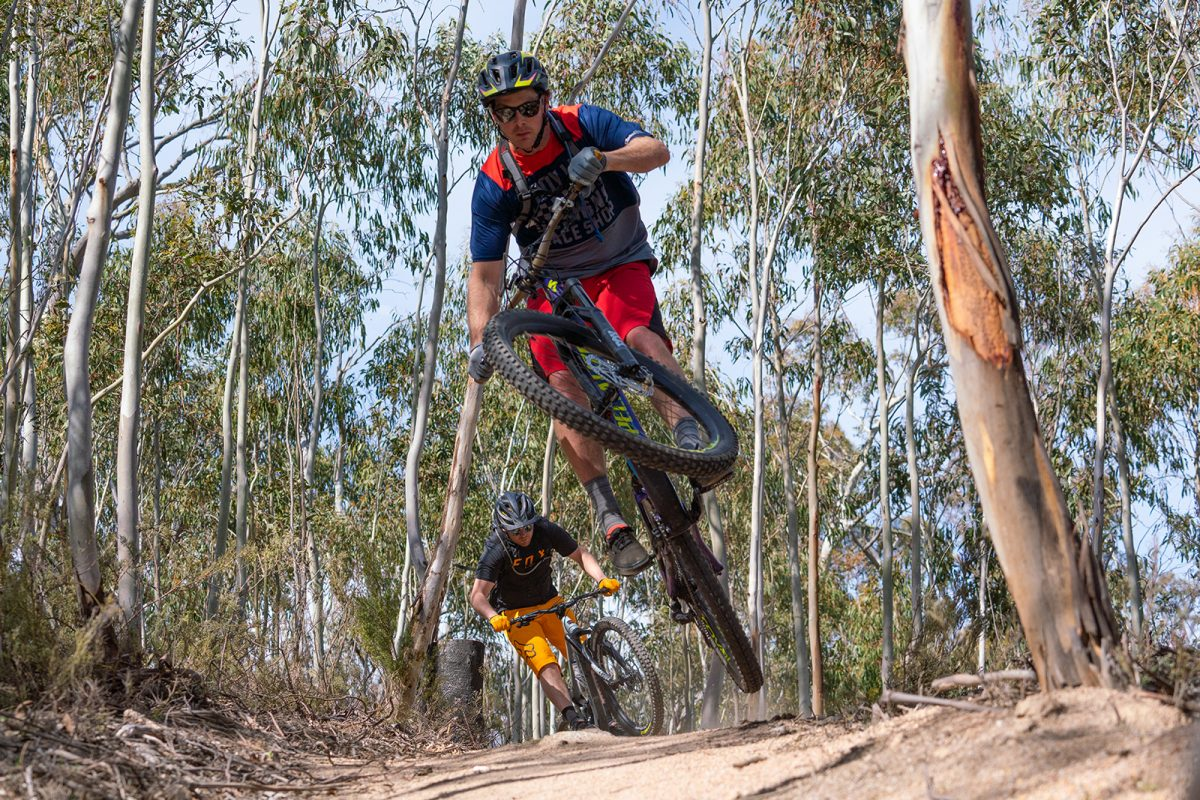 Two people riding on the Lower Thredbo Valley track