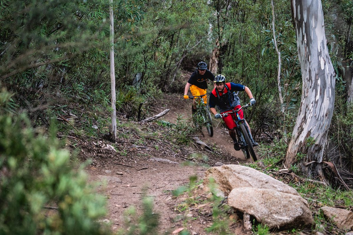 Two guys riding Ngarigo campground to Thredbo Diggings Campground on the Thredbo Valley Track