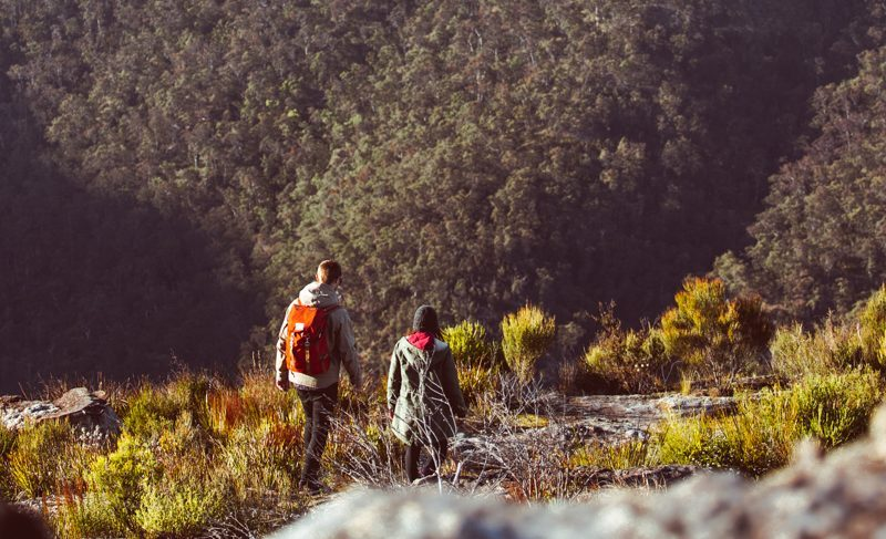 Two people on a hike in Blue Mountains National Park. Photo: Tim Clark