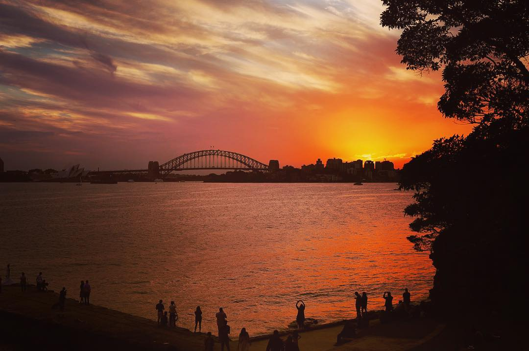 Sunset view of Sydney Harbour from Sydney Harbour National Park