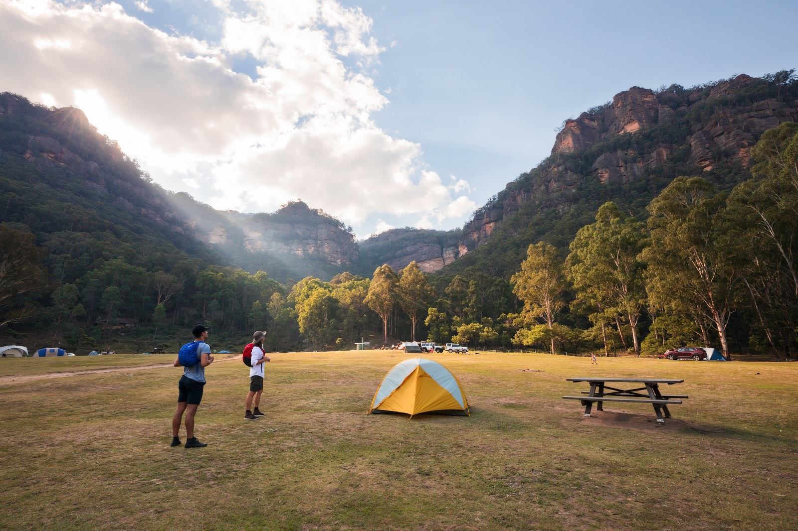 Camping at Newnes campground in Wollemi National Park. Photo: Daniel Tran/OEH