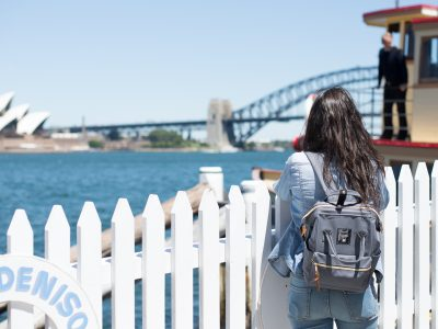 Person waiting to board a ferry at Fort Denison, Sydney Harbour National Park