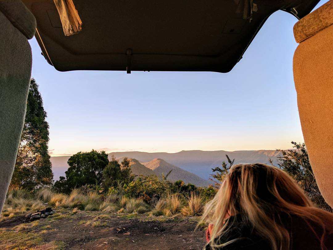 Looking out the back of the car in a NSW national park campground