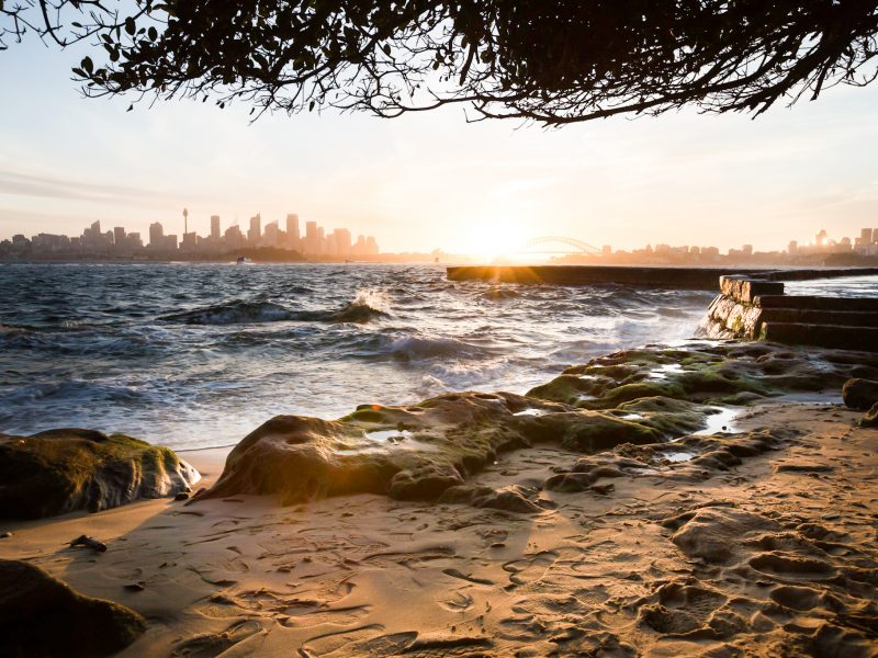 Sunset views of Sydney from Bradleys Head in Sydney Harbour National Park