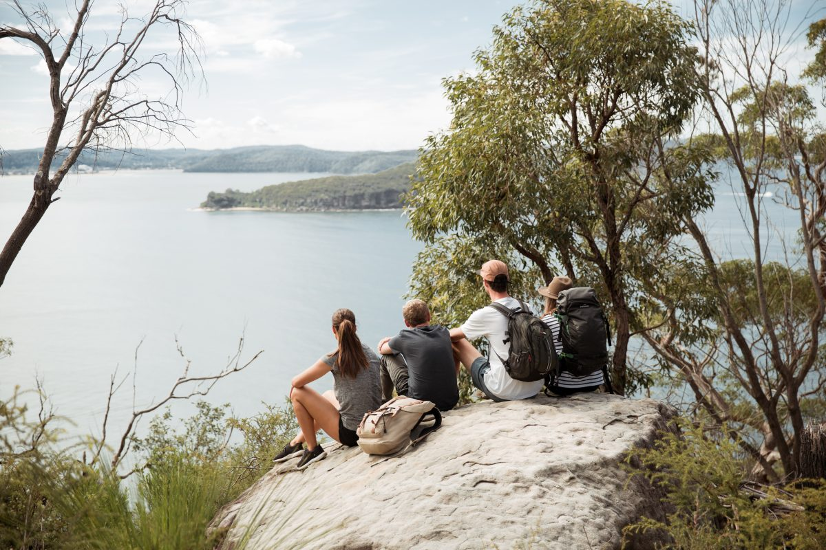Group of people overlooking the Hawkesbury River in Ku-ring-gai Chase National Park