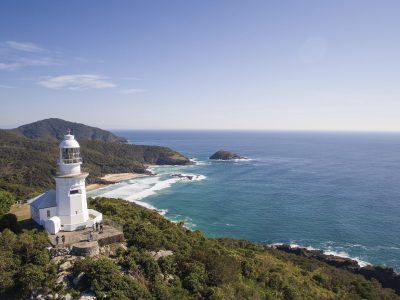 Aerial view of Smoky Cape Lighthouse in Hat Head National Park. Photo: Jessica Robertson