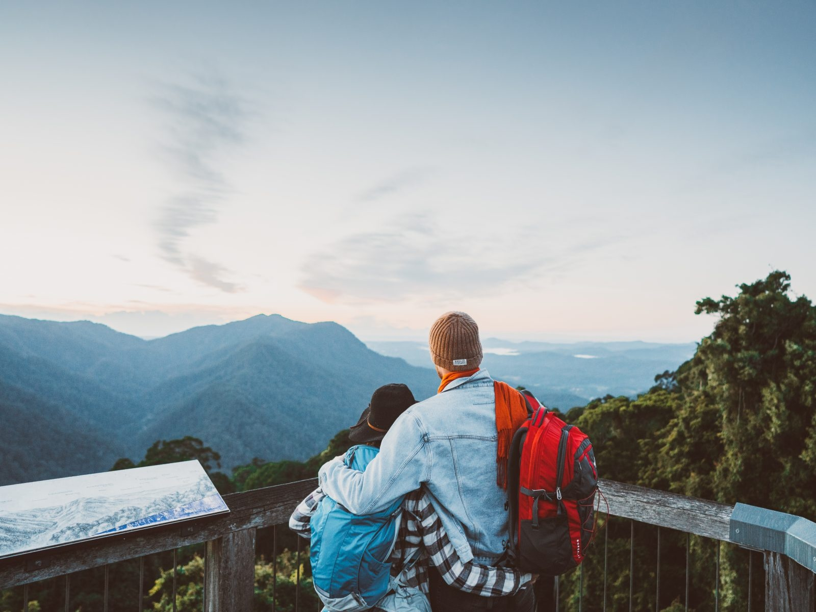 Couple admiring views from Skywalk lookout in Dorrigo National Park. Photo: Branden Bodman/OEH