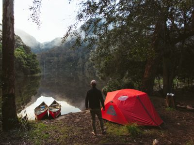 Kayaking and camping by the Murray River in Murray Valley National Park. Photo: Tim Clark/OEH