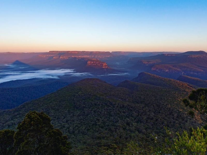 Sunrise views from Pigeon House Mountain Didthul walking track in Morton National Park. Photo: Sam Walklate