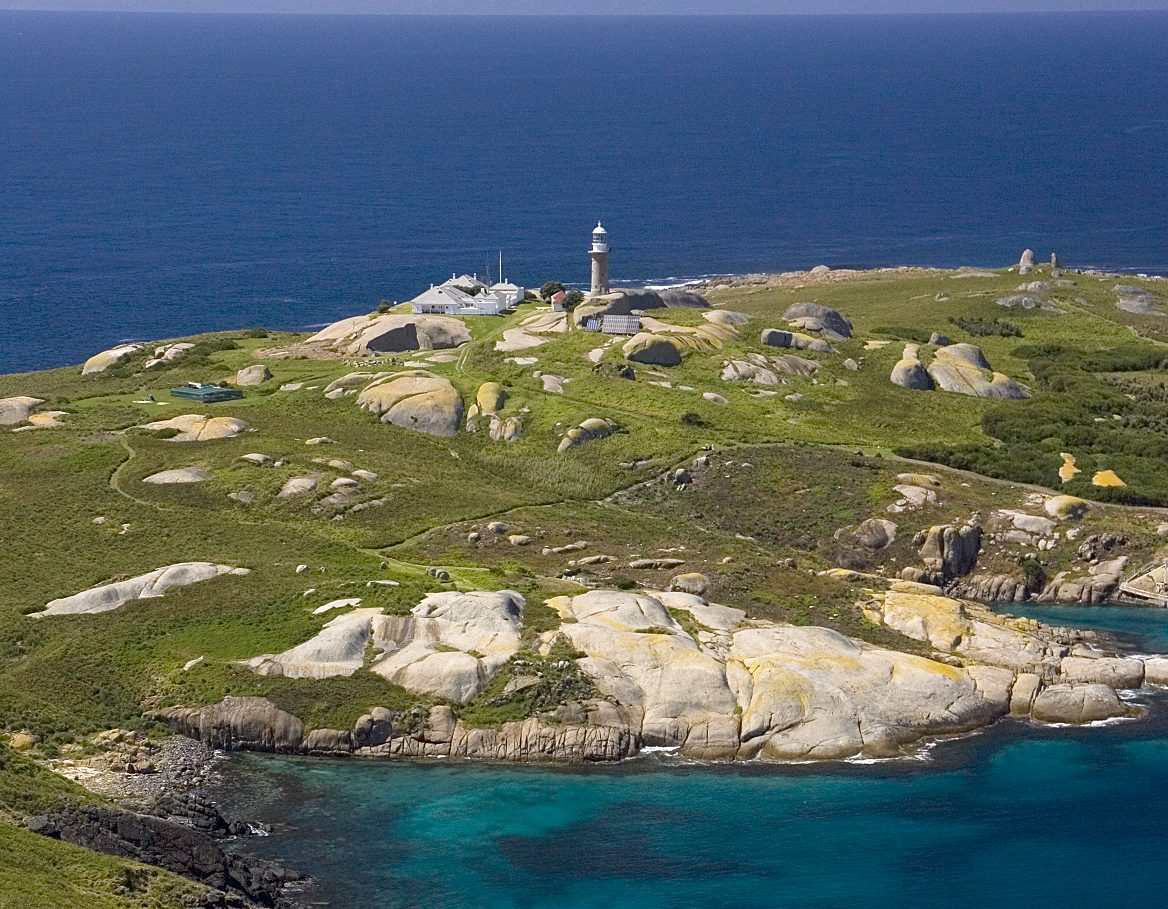 Aerial photograph of Montague Island Lighthouse in Montague Island Nature Reserve. Photo: Geoff Comfort