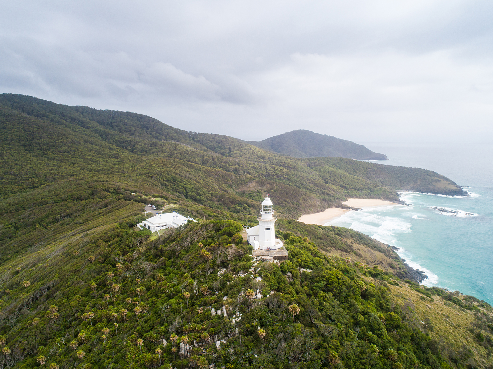Aerial view of Smoky Cape Lighthouse. Hat Head National Park. Photo: Rob Mulally/DPIE