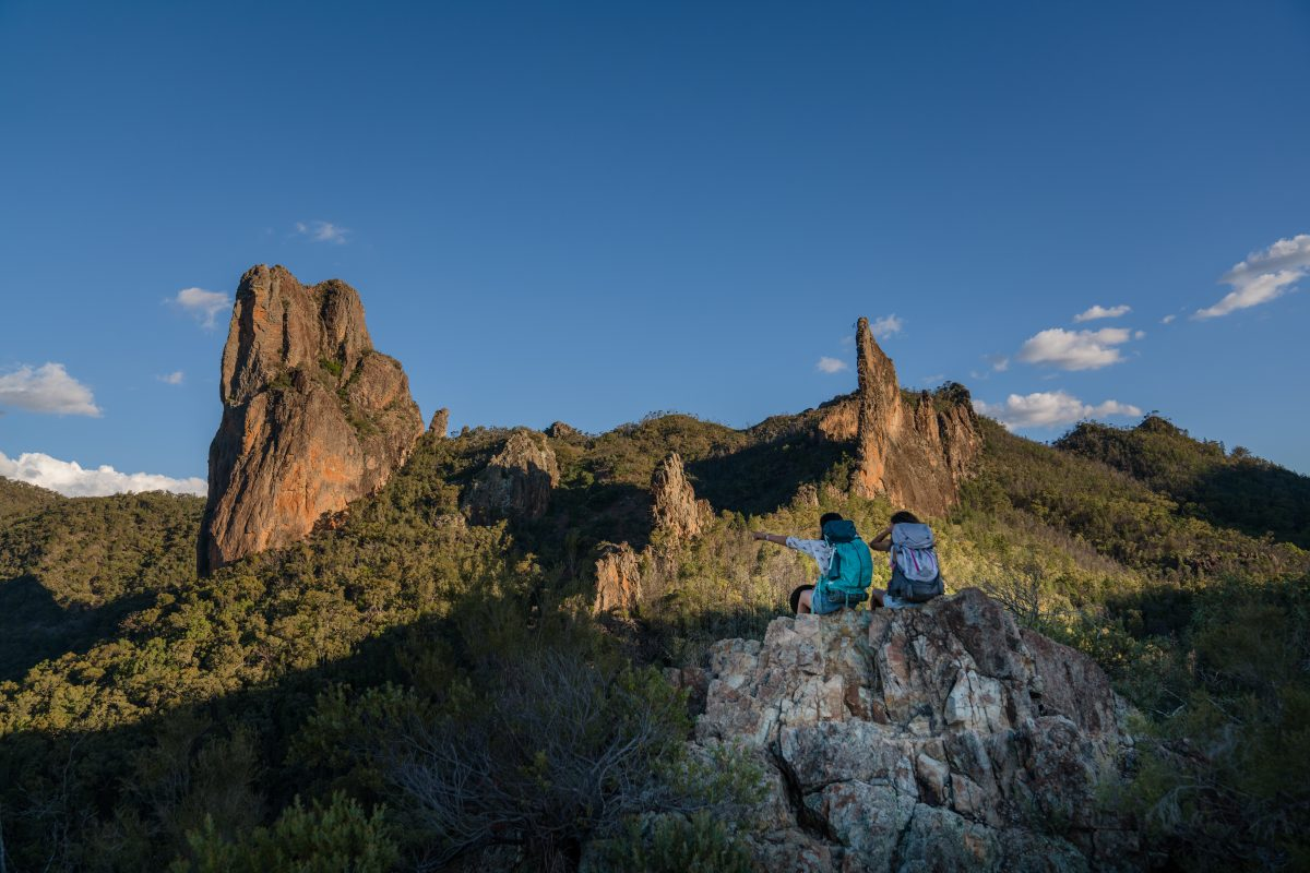 Scenic views of Breadknife and Grand High Tops in Warrumbungle National Park. Photo: Rob Mulally/OEH