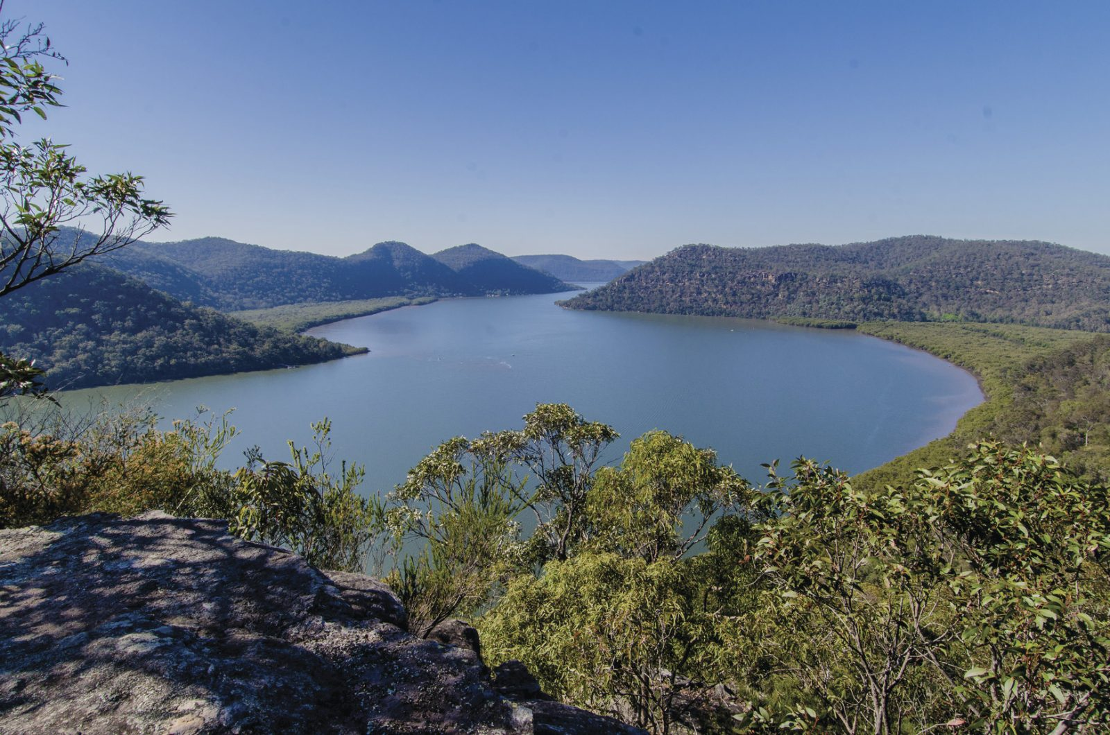 View down to the winding Hawkesbury River from Marramarra National Park. Photo: John Spencer/DPIE