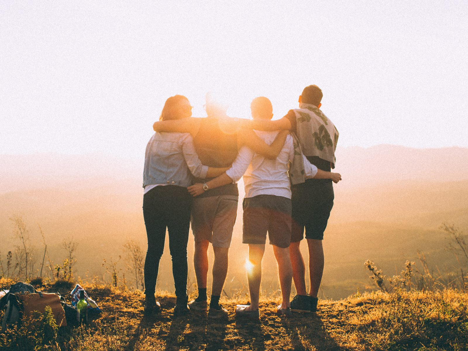 Group of people embracing in a NSW national park