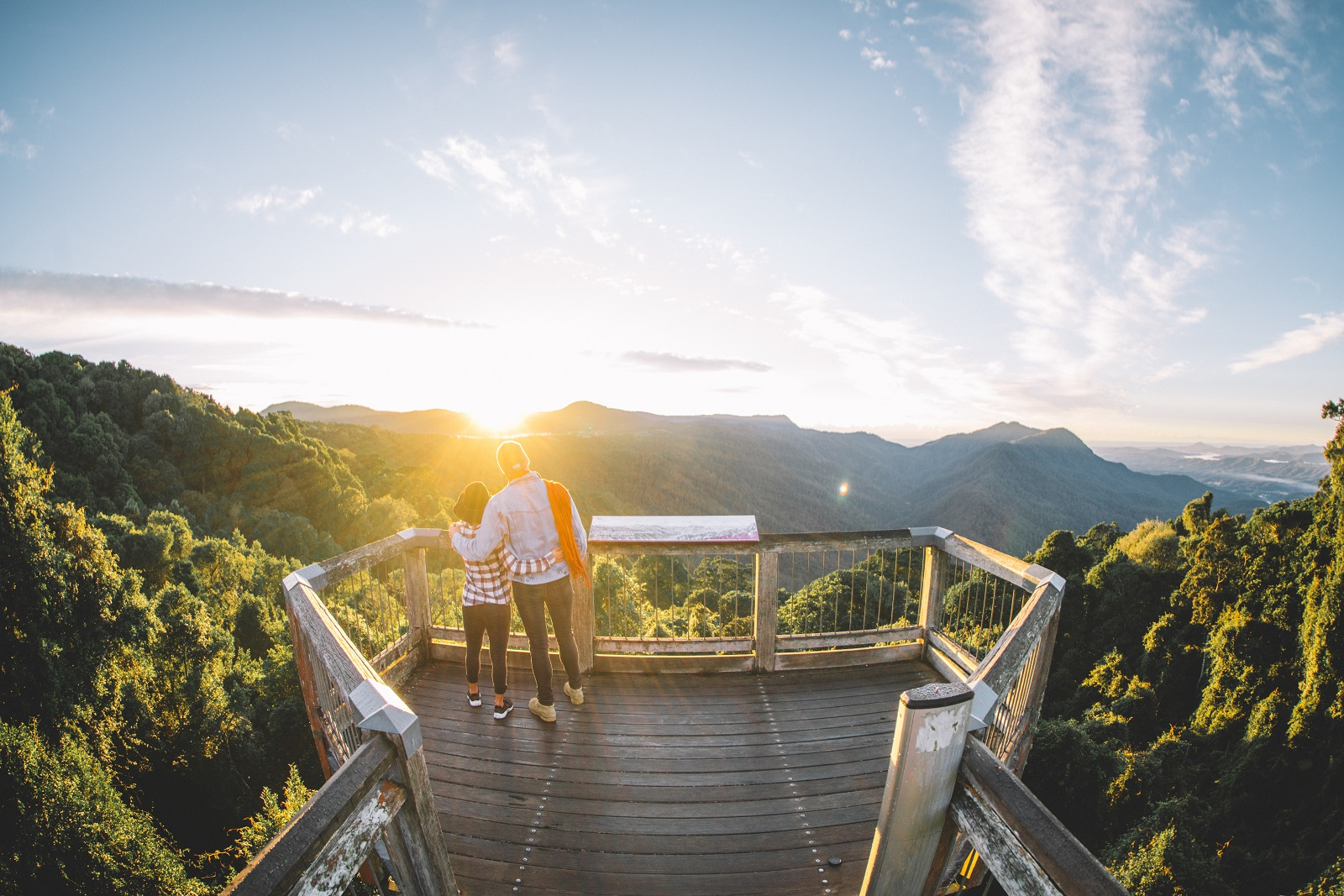 Couple enjoying the view at Skywalk lookout in Dorrigo National Park. Photo: Branden Bodman/OEH