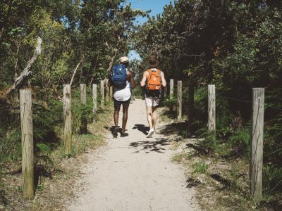 Two guys walking down a track towards the beach in Tomaree National Park. Photo: Erin McGauley/OEH