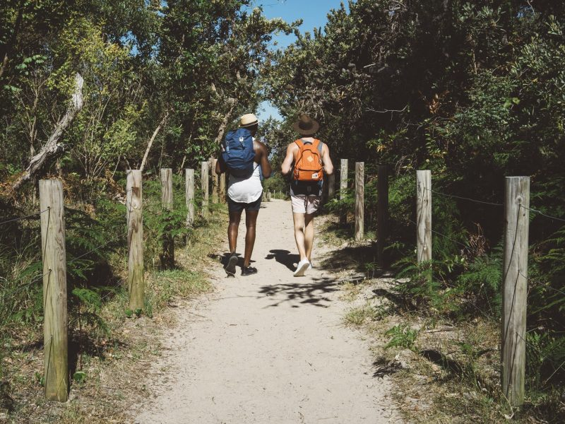 Two guys walking down a track towards the beach in Tomaree National Park. Photo: Erin McGauley/DPIE