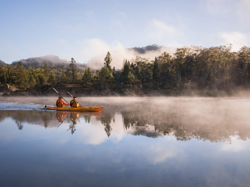 Two males in a kayak on Cudgegong River, Wollemi National Park. Photo: Daniel Tran/OEH