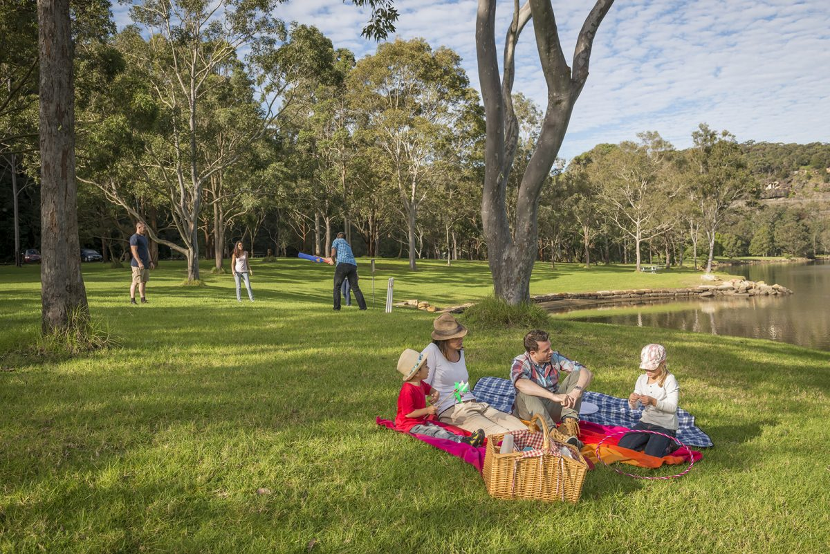 A family of four enjoying a picnic inDavidson Park picnic area, Garigal National Park