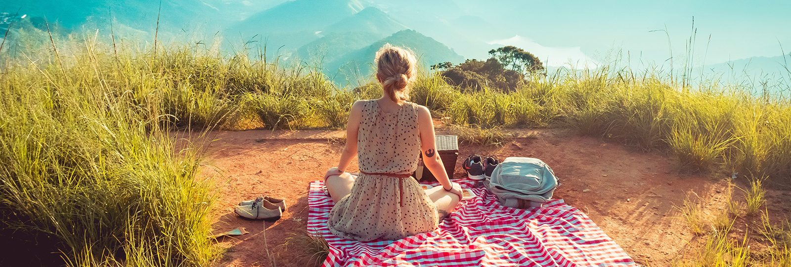 The view of a womans back as she sits on a picnic blanket with the view in front of her
