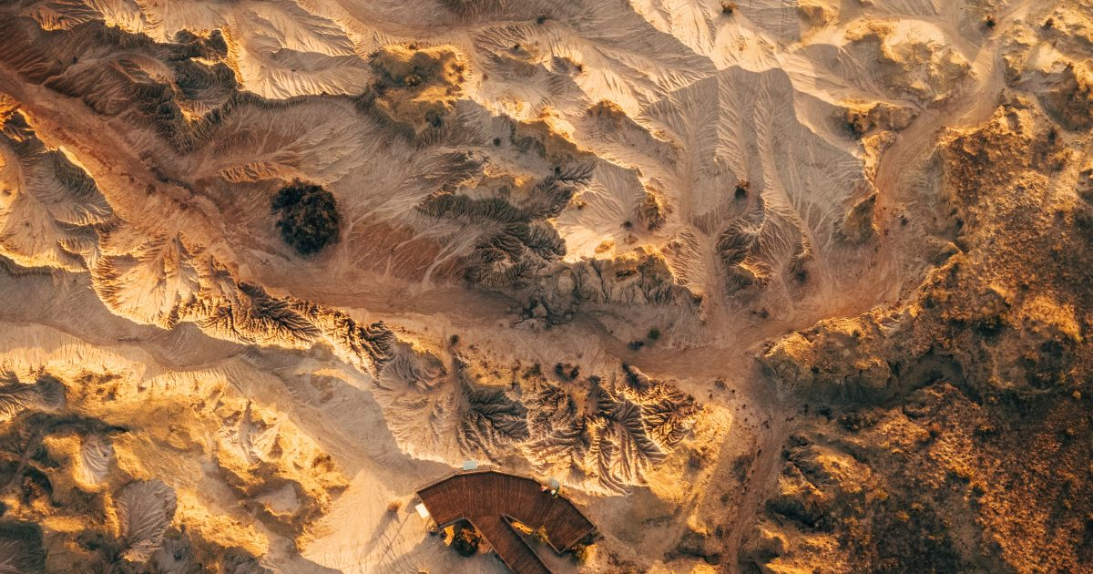 Aerial view of Red Top lookout in Mungo National Park. Photo: Melissa Findley/OEH
