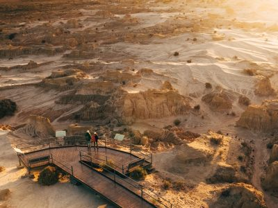 Aerial view of Red Top lookout at Mungo National Park. Photo: Melissa Findley/DPIE