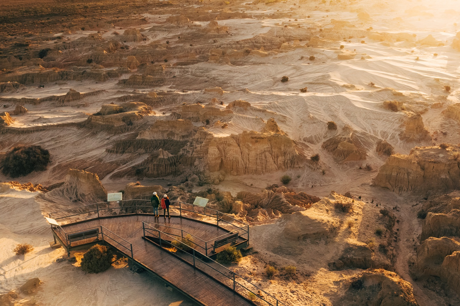 Aerial view of Redtop lookout at Mungo National Park