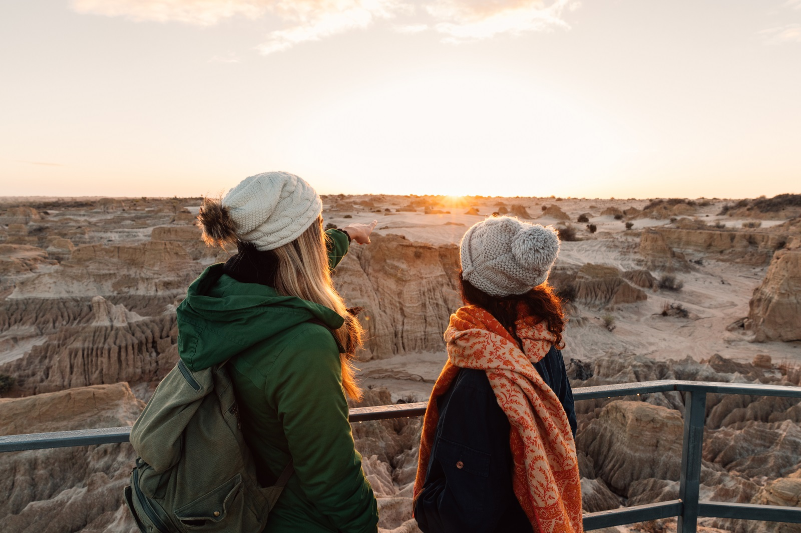 Sightseeing from the Red Top lookout at Mungo National Park. Photo: Melissa Findley/OEH