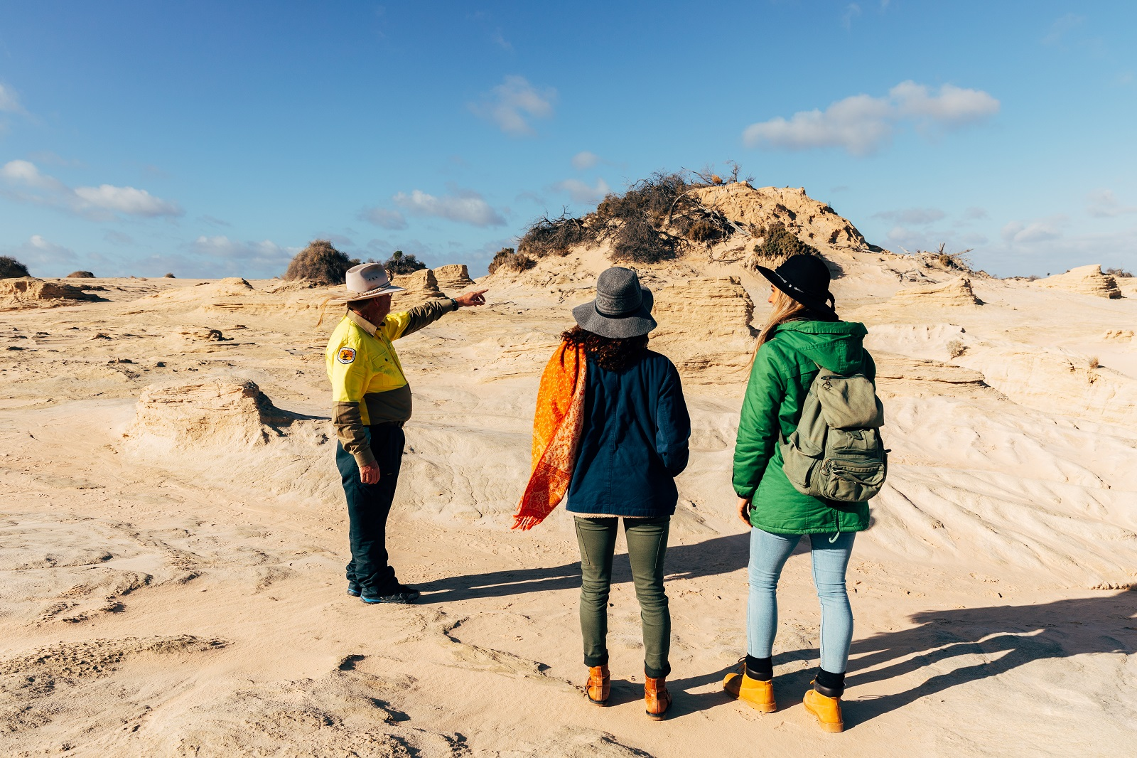 Group visiting Walls of China on a NPWS guided tour in Mungo National Park. Photo: Melissa Findley/DPIE