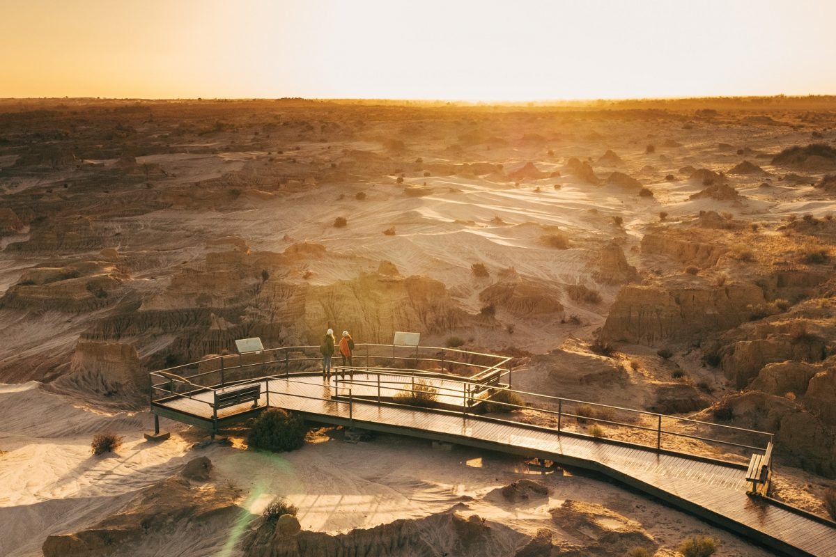 Aerial view of Red Top lookout at sunset in Mungo National Park. Photo: Melissa Findley/DPIE