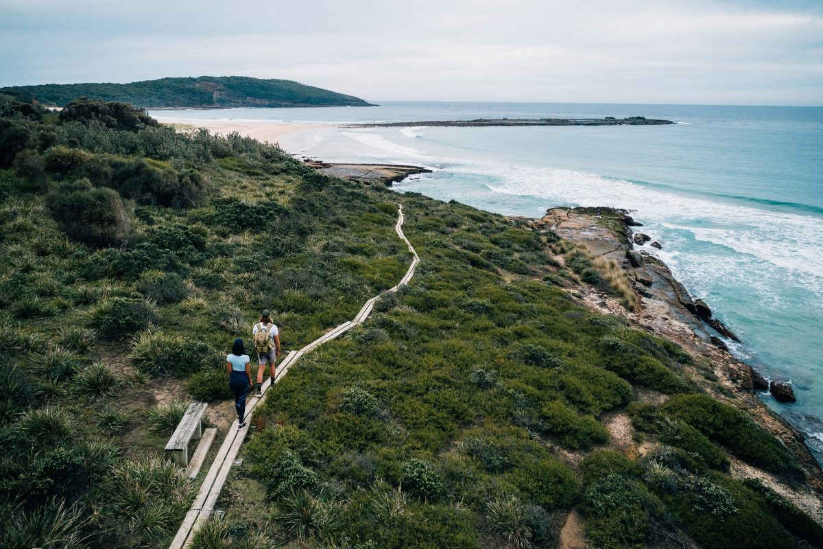 Walking towards Pretty Beach in Murramarang National Park. Photo: Melissa Findley/OEH