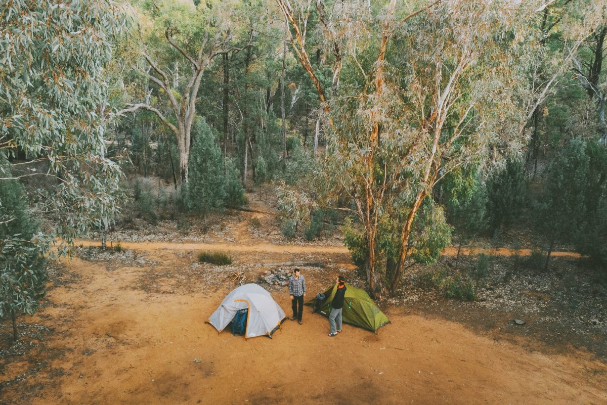 Aerial view of two men and tents at Sculptures in the Scrub campground. Photo: Harrison Candlin/OEH